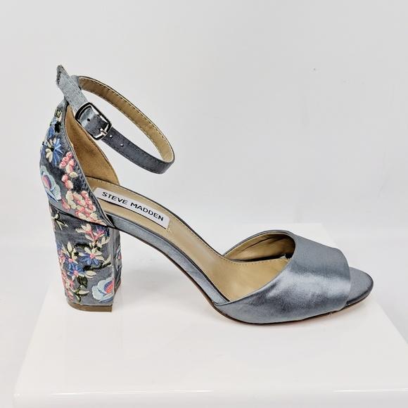 Steve Madden Shoes - STEVE MADDEN Delilah embroidered floral satin heel